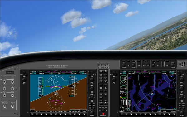 Screenshot shows FS2X's Garmin G1000 being used in FSX
