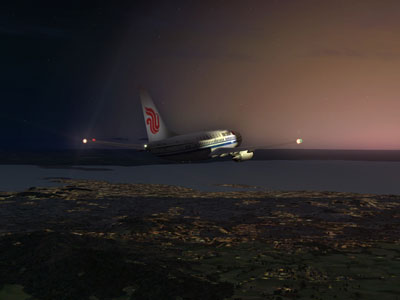Air China Boeing 737-600 at night