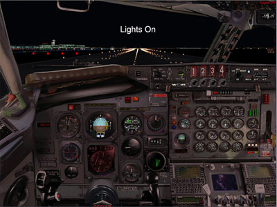 Boeing 707 panel for FS2004 at night
