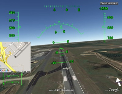 Screenshot from Google Earth's hidden flight simulator cheat