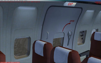 Emergency exit door with red interior