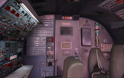 Flight deck door and engineers panel and jump seat