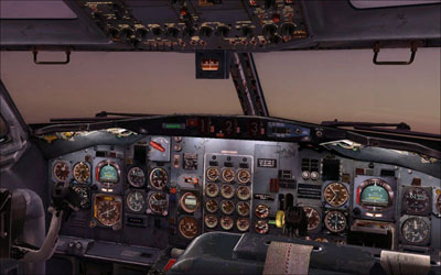 Complete flight deck showing captain seat and first officer seat