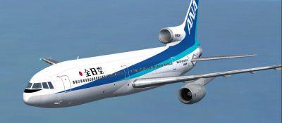 ANA All Nippon Airways L1011 Tristar in flight.