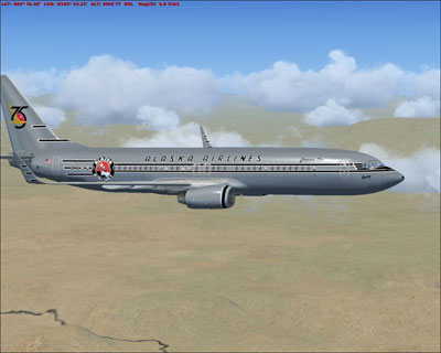 "FSX Alaska Airlines Boeing 737-800 ""Starliner 75"" livery"