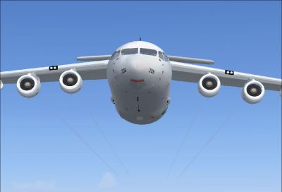 BAe 146 with thin engine smoke.