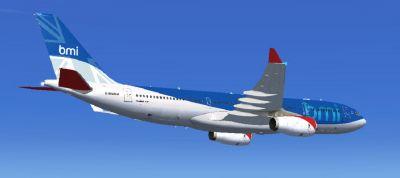 BMI Airbus A330-243 in flight.
