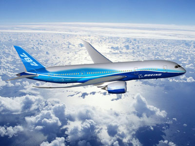 The Boeing 787 Dreamliner in flight