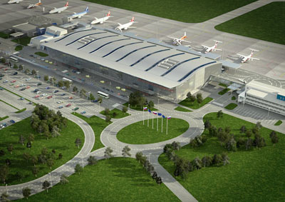 Aerial image of the new terminal at Bratislava International Airport