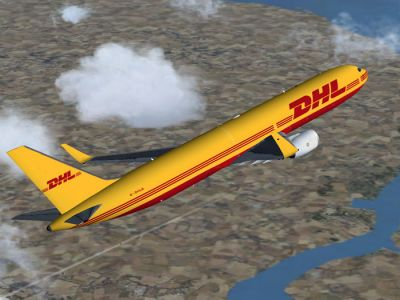 DHL Boeing 767-300ER in flight.