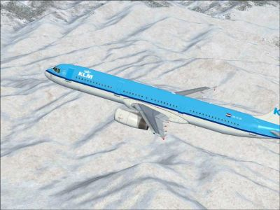 FSX KLM Airbus A321 flying over mountains.