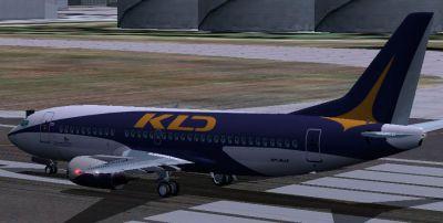 KD Avia Boeing 737-300 on runway.