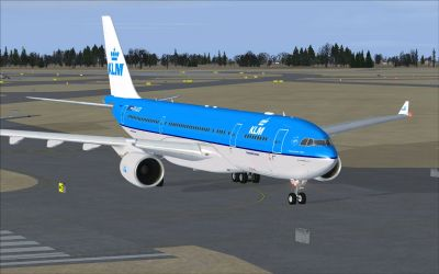 KLM Airbus A330-203 on runway.
