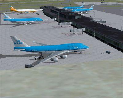 KLM Boeing 747-400 at terminal.