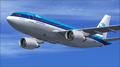 KLM Royal Dutch Airlines Airbus A310-203 in flight.