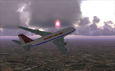 FSX 747 with sunset in background