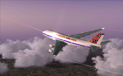 FSX 747 flying over clouds