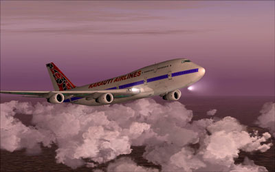 Boeing 747 for FSX with landing lights on