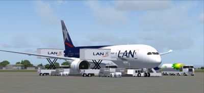 LAN Airlines Boeing 787-8 on tarmac.