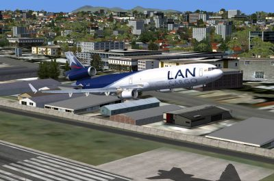 LAN Cargo McDonnell Douglas MD-11F shortly after take-off.