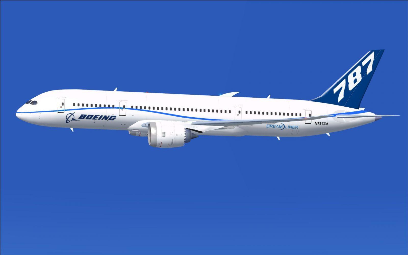 n787za flight test airplane boeing 787 8 for fsx