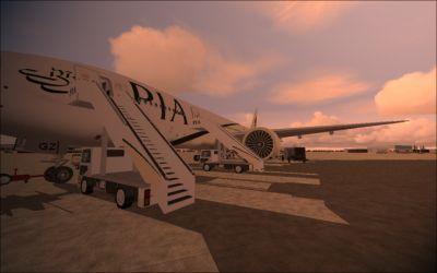 PIA Boeing 777-240ER on tarmac.