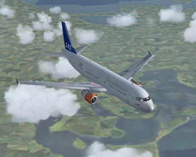 SAS Airbus A319 in flight.