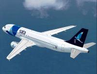 SATA Airbus A320-214 in flight.
