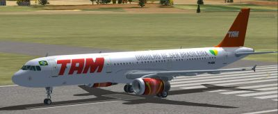 TAM Airbus A321 on runway.