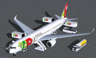 TAP Portugal Airbus A350-900 XWB on tarmac.