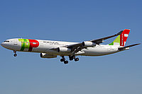 TAP Portugal Airbus A340-300 in flight.