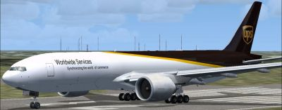 UPS Boeing 777-200 Freighter on runway.