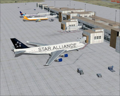 United Airlines Boeing 747-400 in Star Alliance Livery at gate