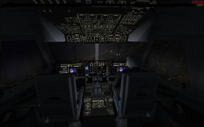 Cockpit of A400 at night flying over Salzburg