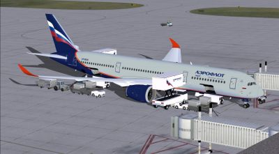Aeroflot Airbus A350-800 XWB at boarding gate.
