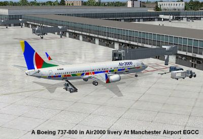 Air 2000 Boeing 737-800 at boarding gate.