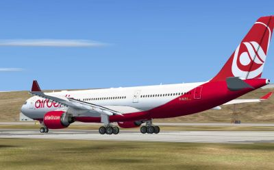 Air Berlin Airbus A330-223 on runway.