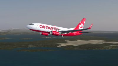 Air Berlin Boeing 737-700 in flight.
