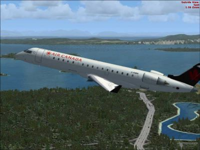 Air Canada Bombardier CRJ-700 after take-off.
