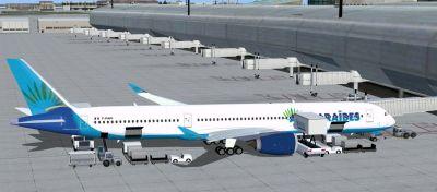 Air Caraibes Airbus A350-1000 XWB at boarding gate.