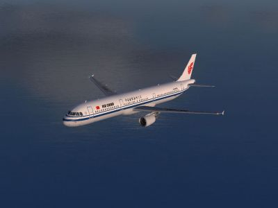 Air China Airbus A321-213 flying over water.