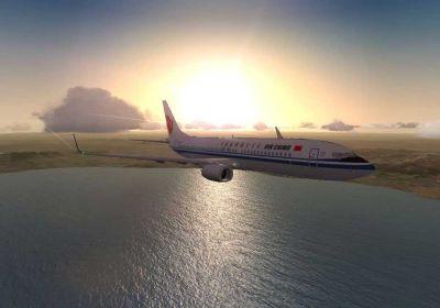 Air China Boeing 737-800 against a sunrise.