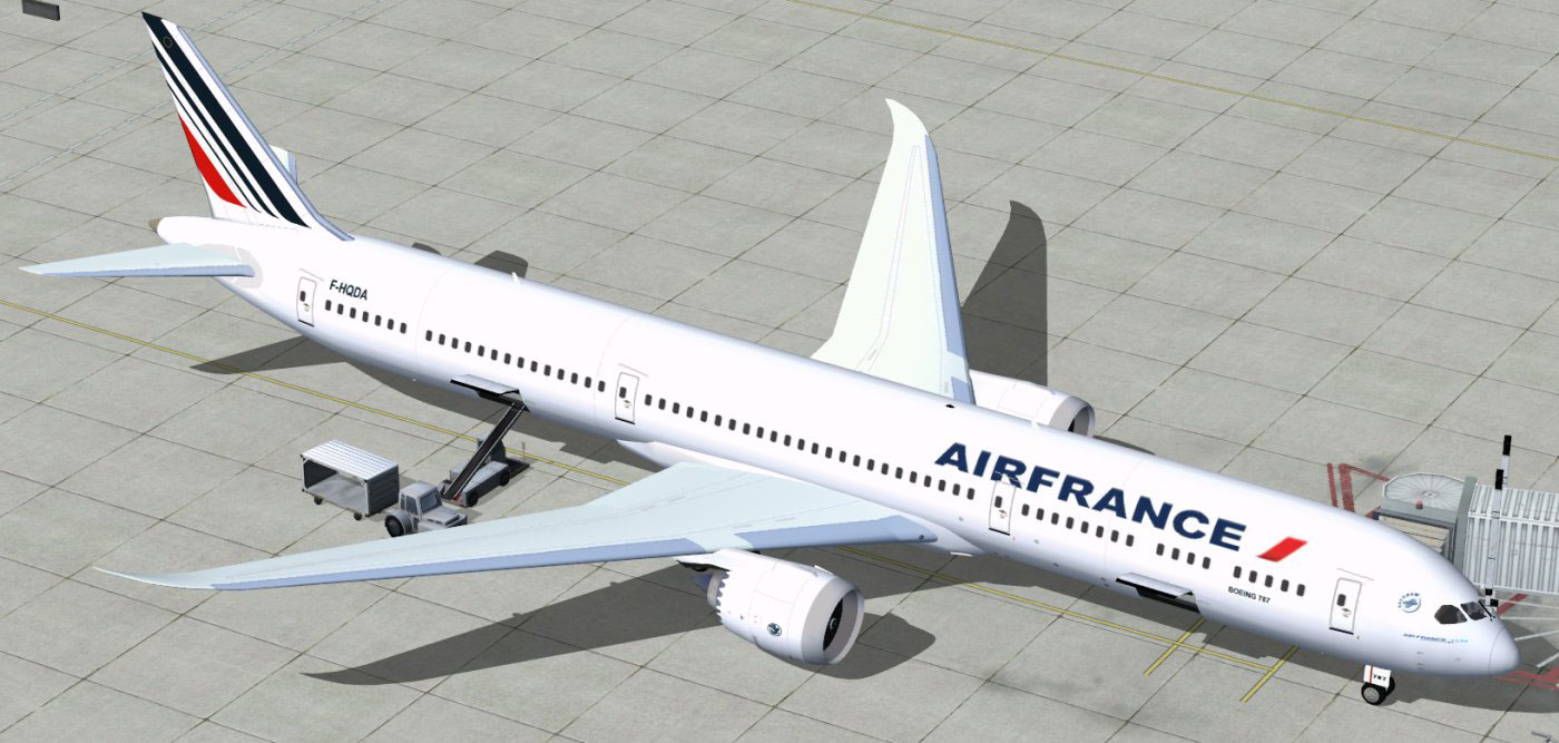 Air france boeing 787 10 at boarding gate