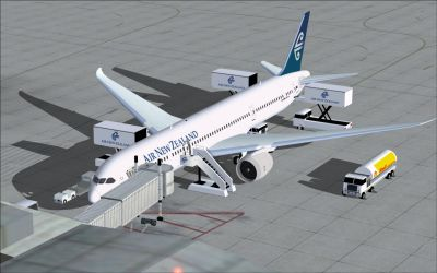 Air New Zealand Boeing 787-9 at boarding gate.