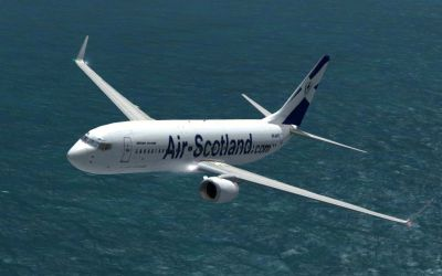 Air Scotland Boeing 737-800 in flight.