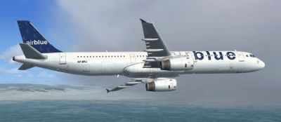 Airblue Airlines Airbus A321 in flight.