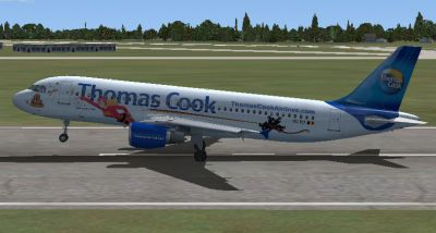 "Thomas Cook Airlines Airbus A320 ""Mega Mindy"" taking off."
