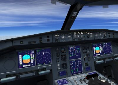 View from the cockpit of Airbus A330-200F.