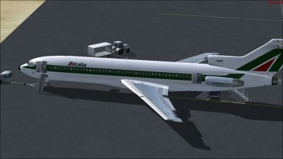 Alitalia Boeing 727-200 on tarmac.