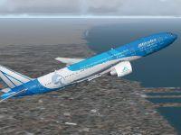 Alitalia Boeing 777-200ER in flight.
